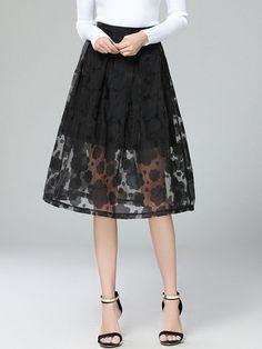 Fashionmia - Fashionmia Solid Floral Hollow Out Flared Midi Skirt - AdoreWe.com