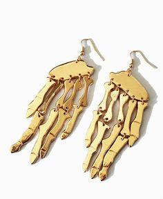 Punk Gold-tone Skeleton Earrings