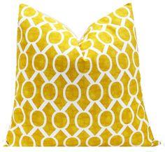 Yellow Pillow Cover Yellow White Geometric Pillow Ikat Pillow Sydney Slub Accent Pillow 18x18 20x20 22 x 22 Pillow Covers ONE