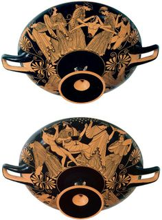 Work of the vase-painter/potter, Douris, active:500-460BCE. Athens. One of the most prolific vase-painters known, Douris worked as a vase-painter and occasionally as a potter in Athens in the early 400s BCE. He is known from almost forty signed vases, two of which he also potted. Altogether, almost three hundred vases have been attributed to him. Given that scholars estimate a less than 0.5% survival rate for Greek vases, Douris may have decorated about 78,000 vases in his career.