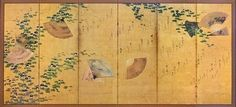 Waka poems over autumn grasses and morning glories with scattered fans, Edo period (1615 –1868), 17th Century. Japan. One of a pair of six-panel folding screens; ink, colors, and gold on paper. Larry Ellison Collection,
