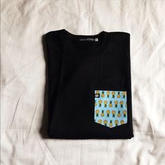 Pineapple Print Pocket Tee Pineapple Pocket Top in Black size small, medium, large. Unisex fit ‼️ no restocks‼️Ships next day‼️ made in the Philippines / pretty much true to size just straight cut fit. Tops Tees - Short Sleeve