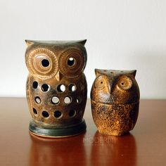 So cute!! Owl Stoneware Japanese Candle Holders from alamodern on Etsy