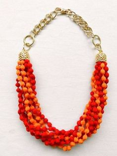Maxi Necklace Puffs - Red / Orange