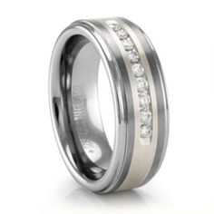 Rob's wedding ring... love!! Tungsten Carbide with Sterling Silver inlay and channel set Diamonds Mens Wedding Band #TitaniumJewelry