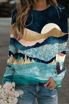 Sport Pullover, Pullover Hoodie, Crew Neck Sweatshirt, Vintage Landscape, Landscape Prints, Blouse Ample, Diy Mode, Moda Online, Cumpărături Online