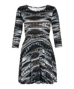 New Look Black and Blue Woven Ikat 3/4 Sleeve Skater Dress