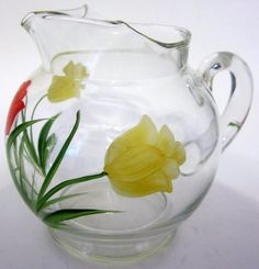 Red Yellow Tulip Blossom Ball Pitcher Creamer Floral Art Hand Painted Collectible Ice Lip Applied Handle
