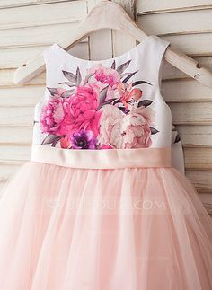 A-Line/Princess Scoop Neck Tea-length Bow(s) V Back Satin Tulle Sleeveless Flower Girl Dress Flower Girl Dress