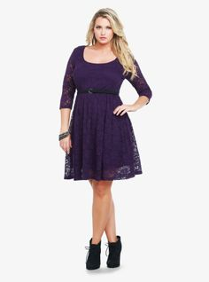 The must-wear flirty fit-and-flare dress (one of our favorite silhouettes this season) gets a sweet update covered in sheer purple lace. Includes a black skinny belt. Fully lined