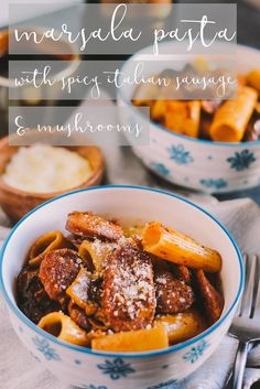 rigatoni tossed into a creamy marsala pan sauce with spicy italian sausage & mushrooms, cozy enough for a date night at home & easy enough to throw together for a spontaneous weeknight dinner with friends Pasta Recipes Date Night, Dinner Recipes, Italian Sausage Pasta, Spicy Sausage, Sausage Rigatoni, Italian Dishes, Italian Recipes, Italian Foods, Marsala Pasta