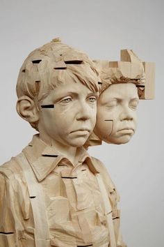 Gehard Demetz - Jack Shainman Gallery  The siblings in me, detail, 2014, lime wood and acrylic paint, 66 1/2 x 15 x 12 3/8 inches
