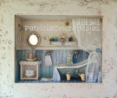 Baño Rustico con miniaturas. Hecho por encargo.