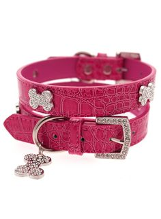 Bruiser's Legally Blonde Pink Leather Diamante Collar / Diamante Bone Charm and Lead Set Leather Collar, Pink Leather, Luxury Dog Collars, Blonde With Pink, French Poodles, Mini Goldendoodle, Mini Dogs, Puppy Collars, Legally Blonde