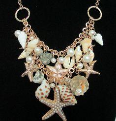 Mermaid Fantasy Beach Sea shell Starfish by HausofTrashglam Sea Jewelry, Mermaid Jewelry, Seashell Jewelry, Seashell Necklace, Shell Necklaces, Jewelry Sets, Jewelry Making, Starfish Earrings, Mermaid Necklace
