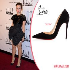 Emma Watson in Christian Louboutin Black Suede So Kate Pumps - ShoeRazzi