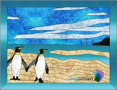 Name: 'Quilting : Penguin Friends - Tiled Embroidery Map, Learn Embroidery, Stained Glass Birds, Stained Glass Patterns, Applique Quilt Patterns, Family Presents, Bird Quilt, Satin Stitch, Fabric Art