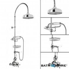 Thermostatic Mixer Shower Set   200 mm Traditional Head & Hand Held - BathEmpire