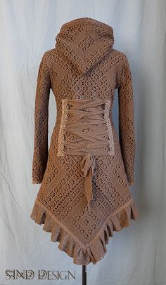 Sale!!CROCHET LACE JACKET cardigan fleece crochet gypsy Steampunk Pixie Tribal
