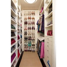 Shelves for Shoes - Contemporary - closet - Melanie Fascitelli ❤ liked on Polyvore featuring rooms, closet, house, home and bedroom