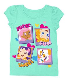 Another great find on #zulily! Mint 'Super Fun Sweet' Puff-Sleeve Tee - Toddler by Bubble Guppies #zulilyfinds