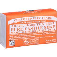 Dr. Bronner's Pure Castile Soap - Fair Trade And Organic - Bar - All One Hemp - Tea Tree - 5 Oz