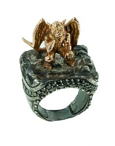 Extraordinary Rose Gold Gargoyle with Black Diamonds  http://www.talismancollection.com/collections/atelier-minyon/products/pondering-gargoyle-18k-black-diamond-ring