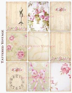 tattered vintage wallpaper labels