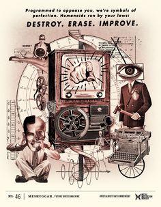 Metal Motivation Monday   Future Breed Machine. Poster by Ryan Cuthriell. Music by Meshuggah. mmm.ryantimesfive.com