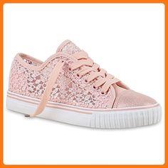 Unisex Damen Herren Kinder Sneakers Sneaker Low Blumen Schnür Stickereien Spitze Turn Freizeit Schuhe 130589 Rosa Spitze 38 | Flandell® (*Partner Link)