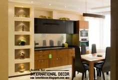 Stylish built in shelves of plasterboard with spot light for modern kitchens interior design