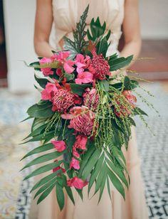 pink and leafy bouquet