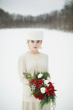 Traditional Christmas Wedding Inspiration from Russia - Chic Vintage Brides Russian Vintage Christmas Bridal Look Christmas Wedding Dresses, Christmas Wedding Centerpieces, Christmas Wedding Decorations, Christmas Flowers, Holiday Wedding Inspiration, Wedding Ideas, Wedding Details, Wedding Venues, Chic Vintage Brides