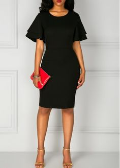 Black Flare Sleeve Back Slit Sheath Dress on sale only US$33.95 now, buy cheap Black Flare Sleeve Back Slit Sheath Dress at liligal.com