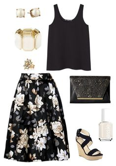 """Untitled #469"" by kmysoccer on Polyvore featuring MANGO, Marc Fisher, Kate Spade, Jessica McClintock, Stella & Dot, Essie and Charlotte Russe"