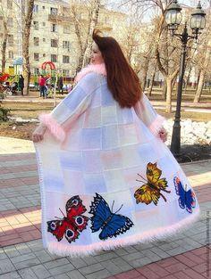 """Купить Пальто """" Бабочки-трапеция"""",цвет- перламутр - кремовый, рисунок, Анна Лесникова"""