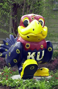 Barb's 6) Statue or Sculpture ~ Several artists designed Jayhawk statues which were displayed at different places all over Lawrence, Ks. as an art installation called Jayhawks on Parade honoring the KU Jayhawks. This is one of many designs. Pretty bird!