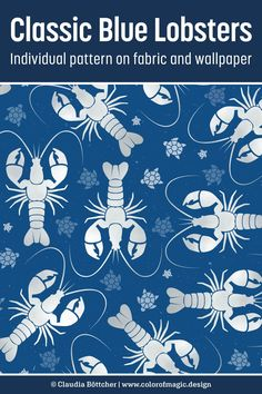Silver gray lobsters and some tiny turtles on Pantone Classic Blue background. Available at Spoonflower on fabric, wallpaper and a variety of home decor items - check it out! Fabric Shop, Custom Fabric, Diy Sewing Projects, Sewing Ideas, Tiny Turtle, Color Magic, Lobsters, Hippie Art, Stuffed Animal Patterns