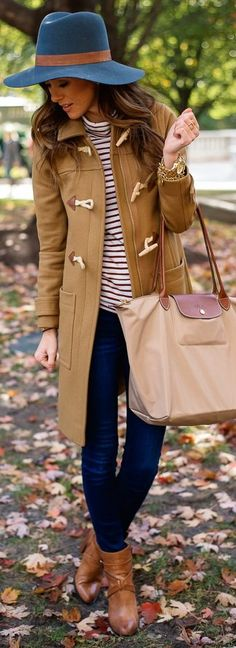 Camel Toggle Coat + Striped Turtleneck + Longchamp Le Pliage bag