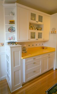 White cabinets with granite countertops crystal for Galley kitchen without upper cabinets