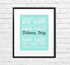 Custom Gift for Best Friend, Sister, BFF - 8x10 Art Print, Personalized - Friend Pairings, We Go Together Like, Tiffany Blue, BFF Gift, Best
