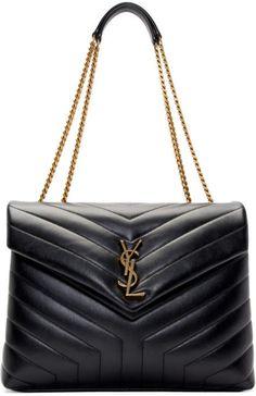 Saint Laurent Medium Loulou Matelassé Calfskin Leather Shoulder Bag - B Black Leather Tote, Quilted Leather, Leather Shoulder Bag, Shoulder Strap, Saint Laurent Bag, Mode Outfits, Trendy Outfits, Medium Bags, Black Handbags