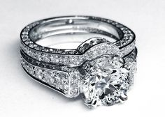 Large Diamond Cathedral Graduated pave Engagement Ring with Matching Pave Wedding Band