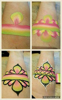Facepainting / armpainting juwel arm step by step by Daniëlle