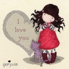 My Cross Stitch Gallery: 68 :: Gorjuss - I Love You Cross Stitch For Kids, Cross Stitch Love, Cross Stitch Kits, Cross Stitch Charts, Cross Stitch Designs, Cross Stitch Patterns, Cross Stitching, Cross Stitch Embroidery, Embroidery Patterns