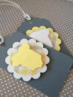 Baby gift tags 12 baby shower favor tags yellow and by PaperStrip, $9.00