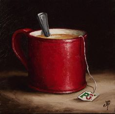 Mug of Tea, J Palmer Daily painting Original oil still life Art
