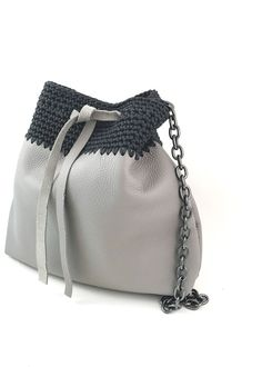 GRACE handcrafted leather bucket bag with crochet details Bucket Bag, Urban, Detail, Luxury, Spring, Crochet, Summer, Leather, Handmade