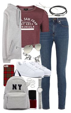 """""""Outfit for college"""" by ferned ❤ liked on Polyvore featuring Yves Saint Laurent, Topshop, Pandora, Monica Vinader, T By Alexander Wang, adidas Originals, NARS Cosmetics, Joshua's, Lonna & Lilly and Ray-Ban"""