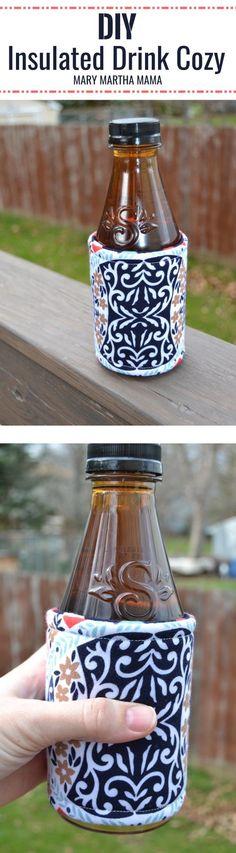 Insulated Drink Cozy Tutorial – Mary Martha Mama- How to make an insulated drink cozy